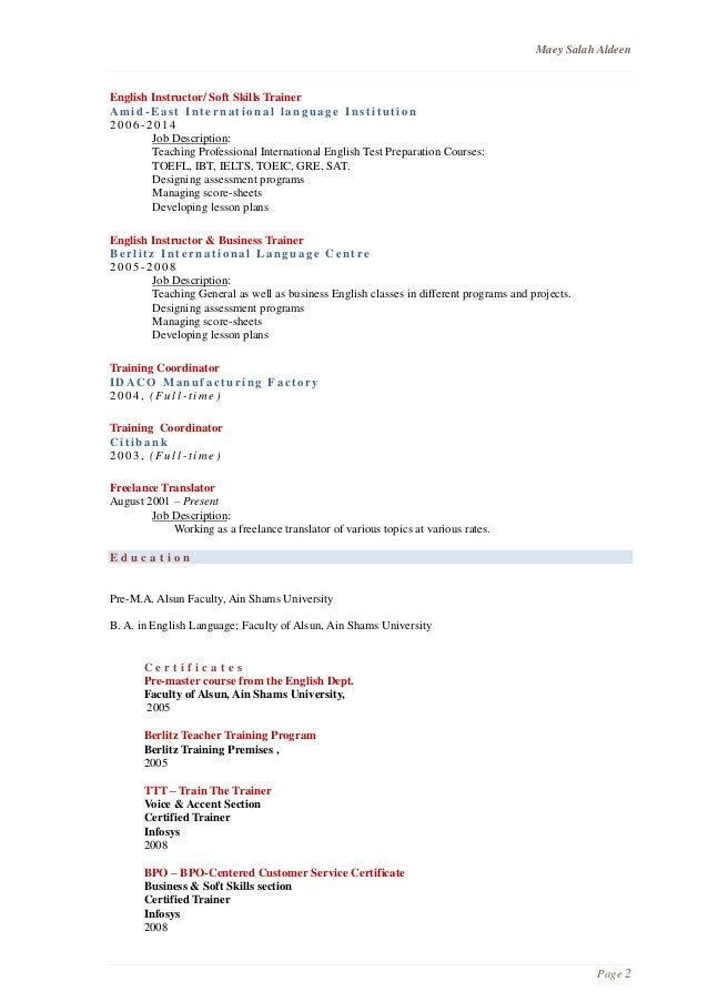 resume toeic toefl