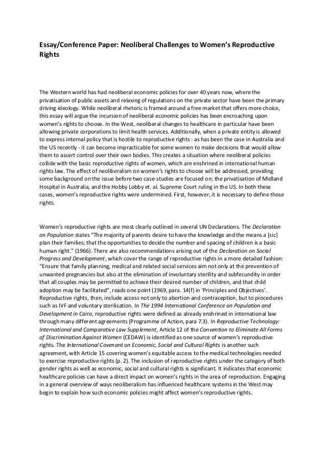 reproductive rights and neoliberalism essay essay conference paper neoliberal challenges to women s reproductive rights the western world has had