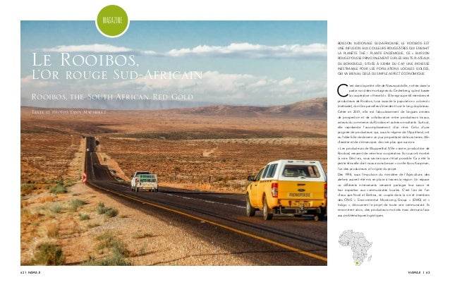 62 I HAMAJI HAMAJI I 63 MAGAZINE BOISSON NATIONALE SUD-AFRICAINE, LE ROOIBOS EST UNE INFUSION AUX COULEURS ROUGEÂTRES QUI ...