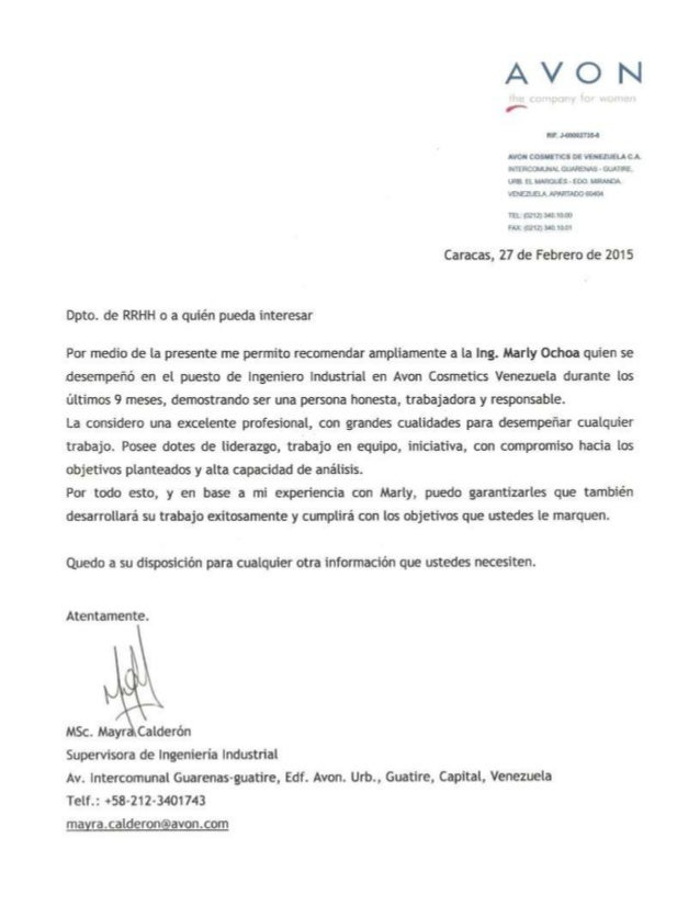 carta de recomendaciones de trabajo