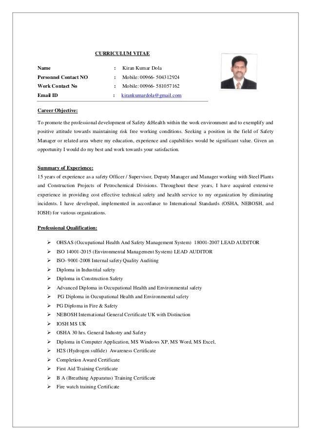regional hse manager resume