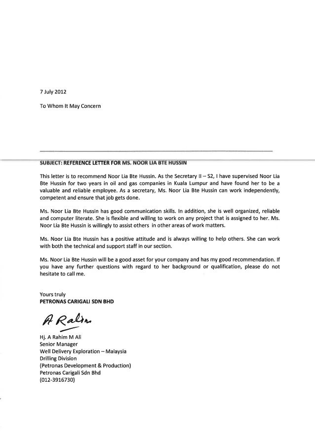 Reference Letter From General Manager PCSB