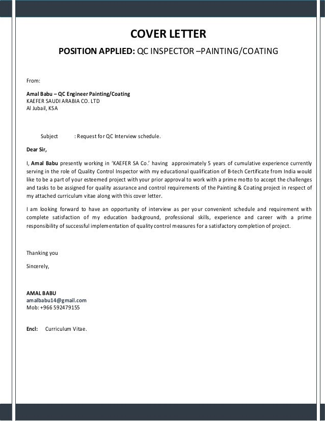 Marvelous COVER LETTER POSITION APPLIED: QC INSPECTOR U2013PAINTING/COATING From: Amal  Babu ...