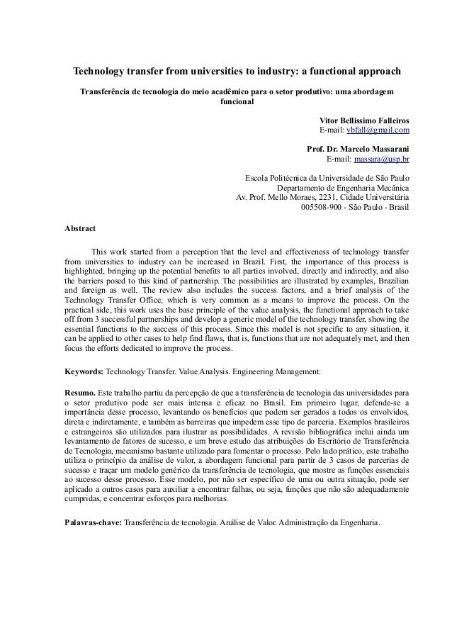 Technology transfer from universities to industry: a functional approach Transferência de tecnologia do meio acadêmico par...