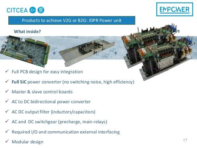 17  Full PCB design for easy integration  Full SiC power converter (no switching noise, high efficiency)  Master & slav...