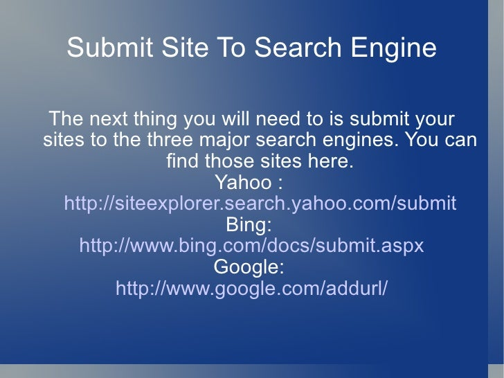 Submit your website to Yahoo Search | Yahoo Help - SLN2217