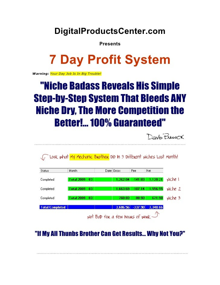 DigitalProductsCenter.com                                       Presents            7 Day Profit System Warning: Your Day ...