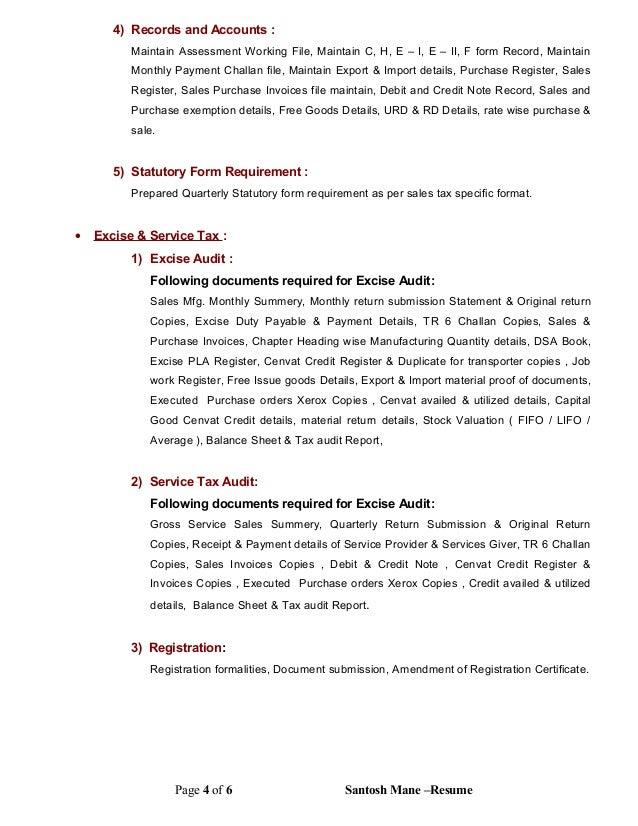 Service tax audit report format