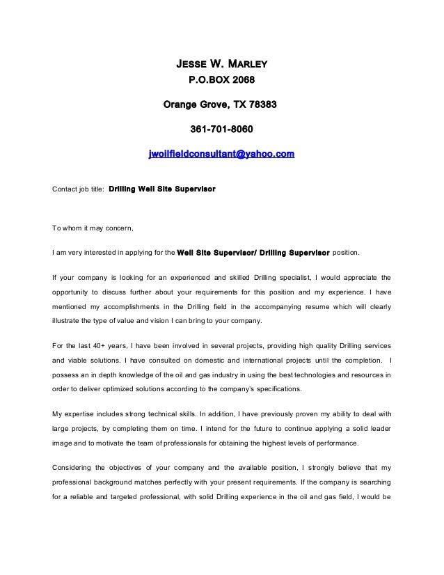 Jesse Marley ____ cover letter