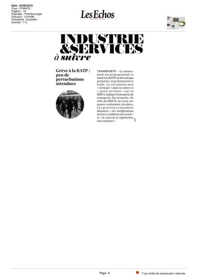 Tous droits de reproduction réservés Date : 03/06/2013 Pays : FRANCE Page(s) : 18 Rubrique : Premiere page Diffusion : (12...