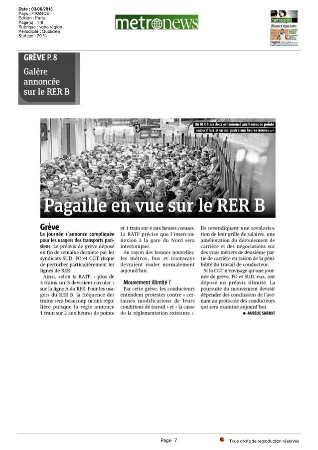 Tous droits de reproduction réservés Date : 03/06/2013 Pays : FRANCE Edition : Paris Page(s) : 1-8 Rubrique : votre région...