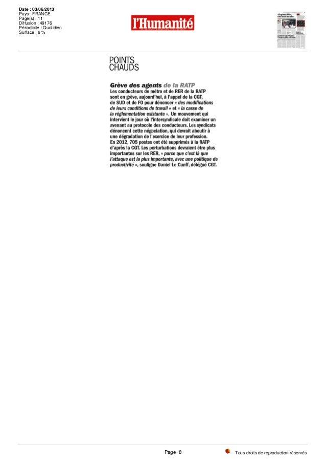 Tous droits de reproduction réservés Date : 03/06/2013 Pays : FRANCE Page(s) : 11 Diffusion : 49176 Périodicité : Quotidie...
