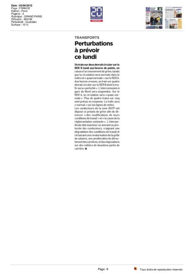 Tous droits de reproduction réservés Date : 03/06/2013 Pays : FRANCE Edition : Paris Page(s) : 2 Rubrique : GRAND PARIS Di...