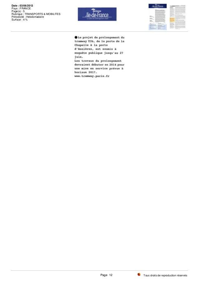 Tous droits de reproduction réservés Date : 03/06/2013 Pays : FRANCE Page(s) : 5 Rubrique : TRANSPORTS & MOBILITES Périodi...