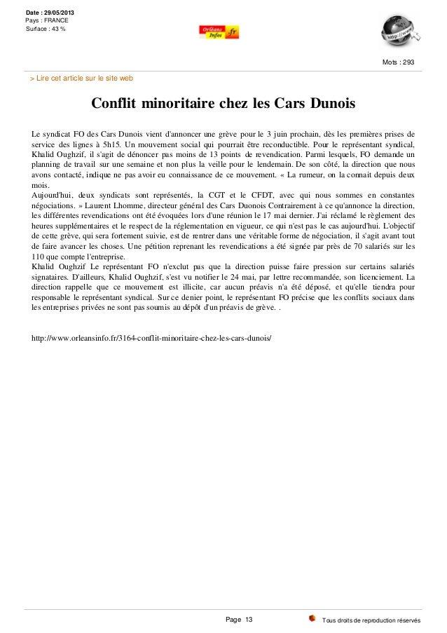Conflit minoritaire chez les Cars Dunois Le syndicat FO des Cars Dunois vient d'annoncer une grève pour le 3 juin prochain...