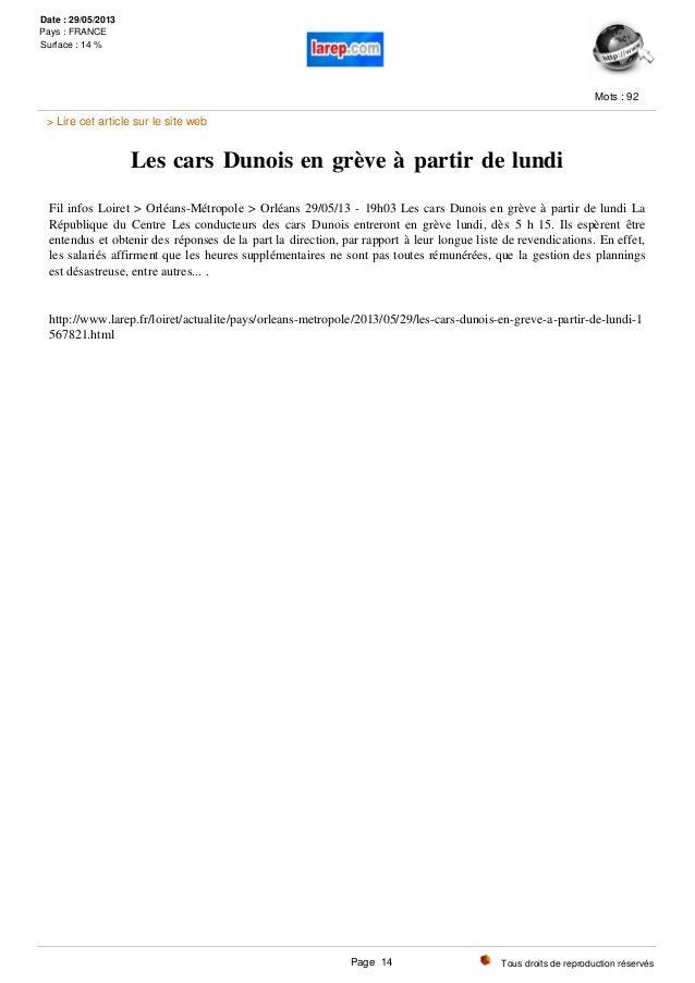 Les cars Dunois en grève à partir de lundi Fil infos Loiret > Orléans-Métropole > Orléans 29/05/13 - 19h03 Les cars Dunois...