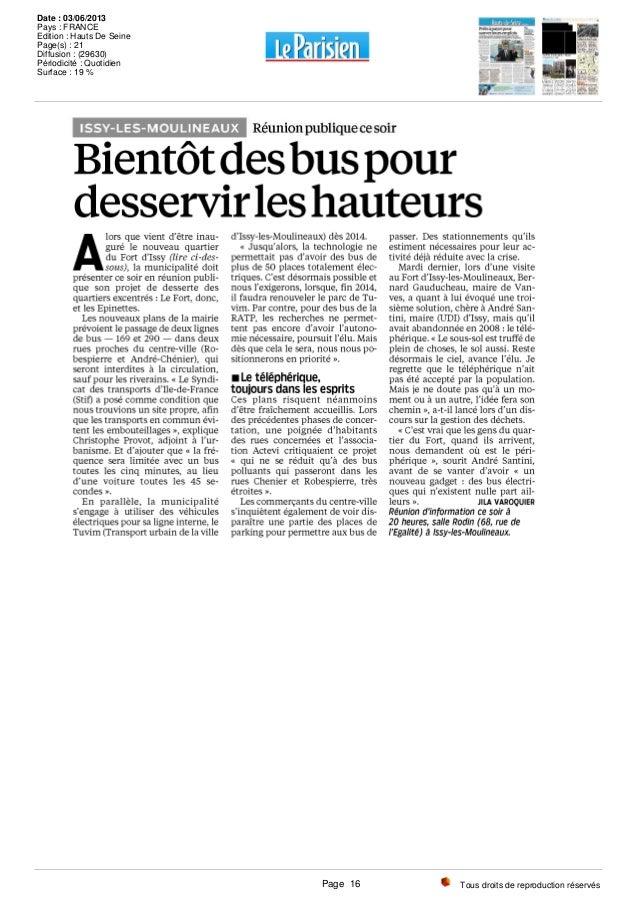 Tous droits de reproduction réservés Date : 03/06/2013 Pays : FRANCE Edition : Hauts De Seine Page(s) : 21 Diffusion : (29...