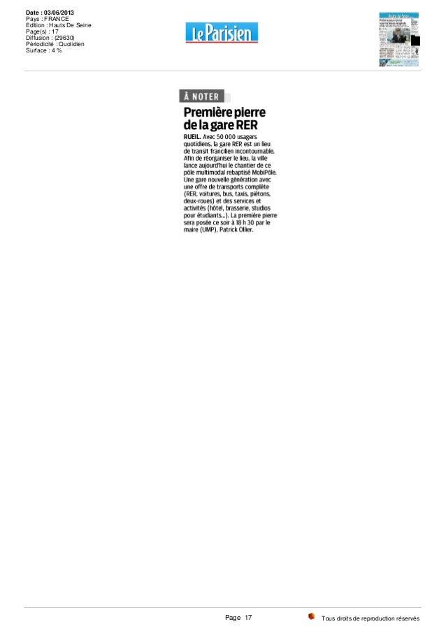 Tous droits de reproduction réservés Date : 03/06/2013 Pays : FRANCE Edition : Hauts De Seine Page(s) : 17 Diffusion : (29...