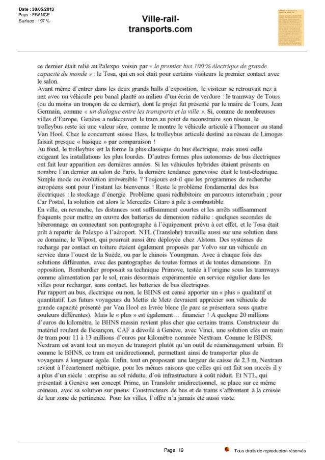 Tous droits de reproduction réservés Date : 30/05/2013 Pays : FRANCE Surface : 197 % Page 19