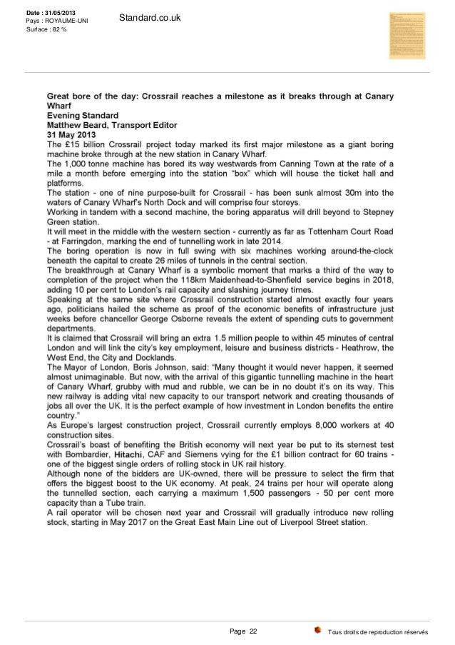 Standard.co.uk Tous droits de reproduction réservés Date : 31/05/2013 Pays : ROYAUME-UNI Surface : 82 % Page 22