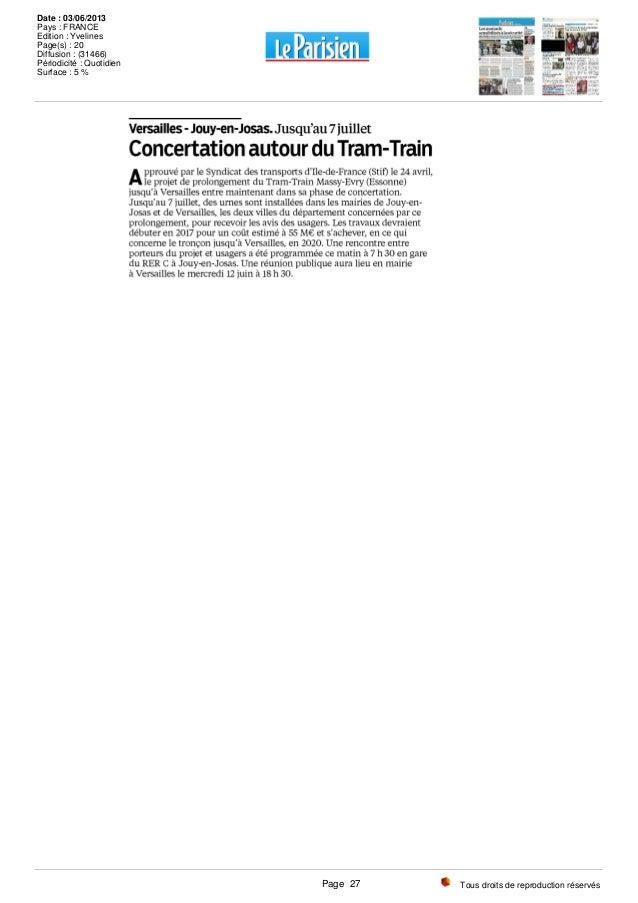 Tous droits de reproduction réservés Date : 03/06/2013 Pays : FRANCE Edition : Yvelines Page(s) : 20 Diffusion : (31466) P...