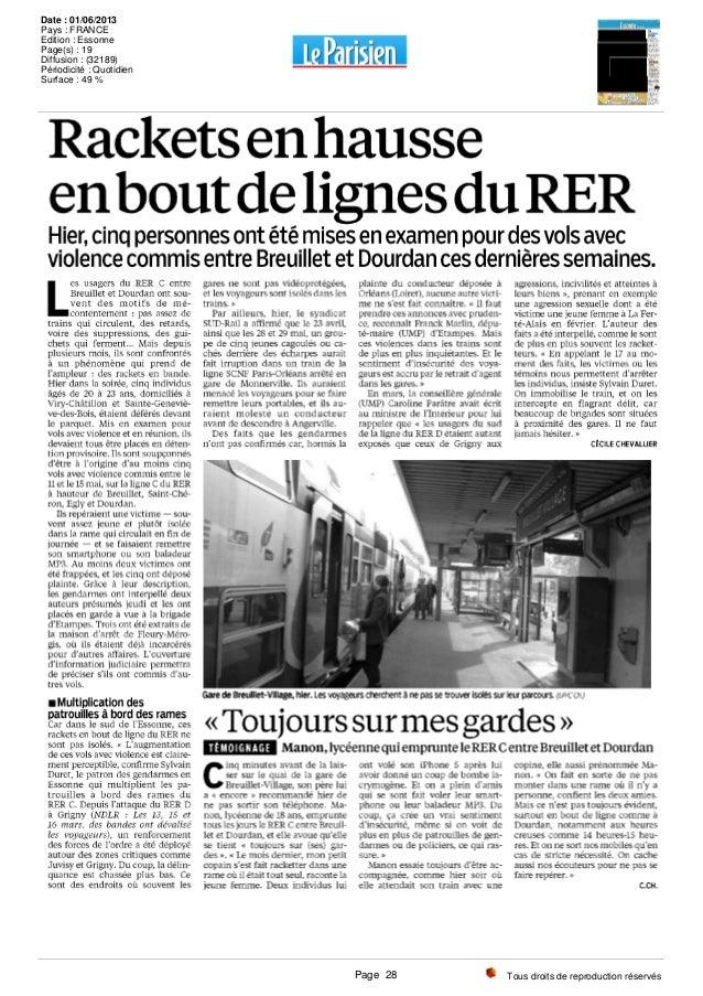 Tous droits de reproduction réservés Date : 01/06/2013 Pays : FRANCE Edition : Essonne Page(s) : 19 Diffusion : (32189) Pé...