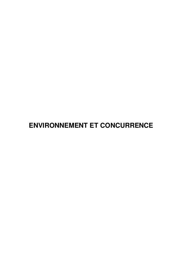 ENVIRONNEMENT ET CONCURRENCE