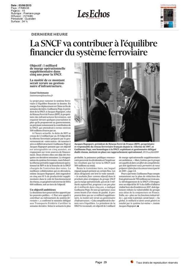 Tous droits de reproduction réservés Date : 03/06/2013 Pays : FRANCE Page(s) : 15 Rubrique : Premiere page Diffusion : (12...