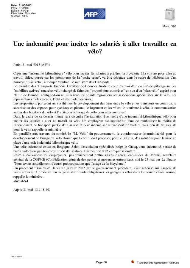 """Une indemnité pour inciter les salariés à aller travailler en vélo? Paris, 31 mai 2013 (AFP) - Créer une """"indemnité kilomé..."""