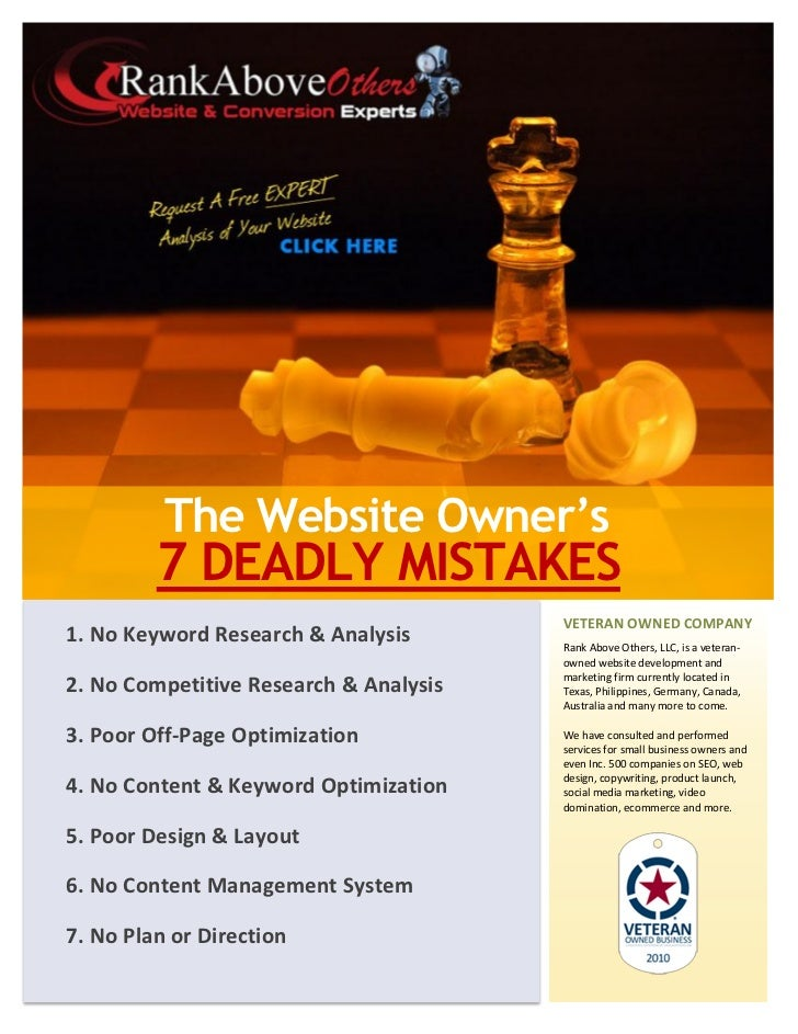 The Website Owner's         7 DEADLY MISTAKES                                        VETERAN OWNED COMPANY1. No Keyword Re...