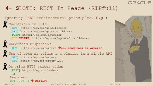 18THE 7 DEADLY SINS OF {API} DESIGN @LUISW19#DevoxxUk 4- SLOTH: REST In Peace (RIPfull) Ignoring REST architectural princi...