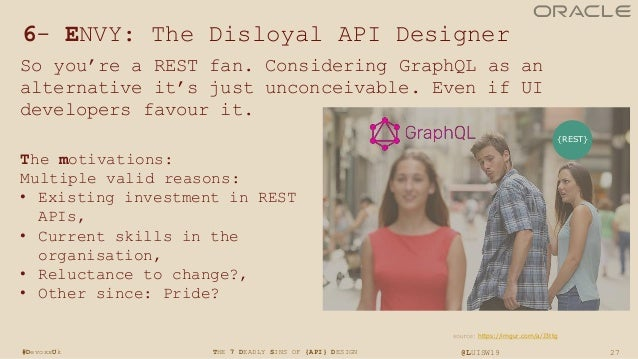 27THE 7 DEADLY SINS OF {API} DESIGN @LUISW19#DevoxxUk 6- ENVY: The Disloyal API Designer So you're a REST fan. Considering...