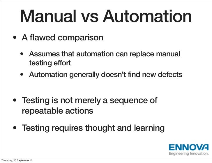 automation vs manual software testing