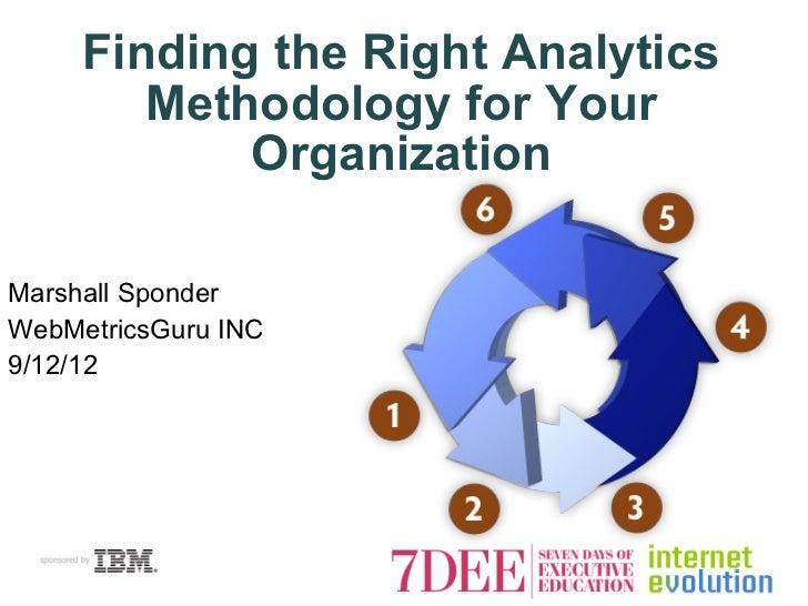 Finding the Right Analytics        Methodology for Your            OrganizationMarshall SponderWebMetricsGuru INC9/12/12