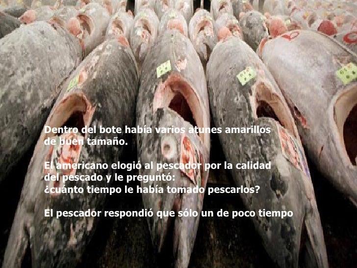 Dentro del bote había varios atunes amarillos  de buen tamaño.  El americano elogió al pescador por la calidad  del pescad...