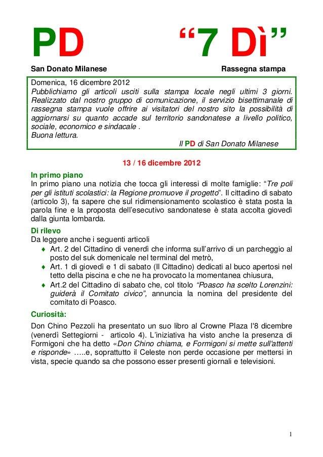 """PDSan Donato Milanese                                               """"7 Dì""""        Rassegna stampaDomenica, 16 dicembre 201..."""