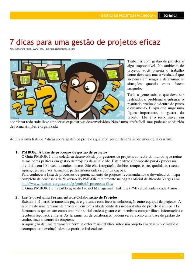 > GESTÃO DE PROJETOS EM ANGOLA < 02-Jul-14 1 7 dicas para uma gestão de projetos eficaz Autora Patrícia Paula, CAPM, ITIL ...