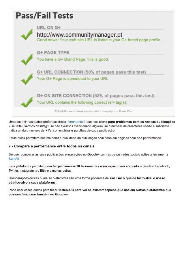 A Steady Demand faz uma auditoria gratuita à nossa página do Google Plus Uma das minhas partes preferidas desta ferramenta...