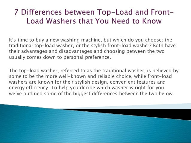 7 Differences Between Top Load And Front Load Washers That