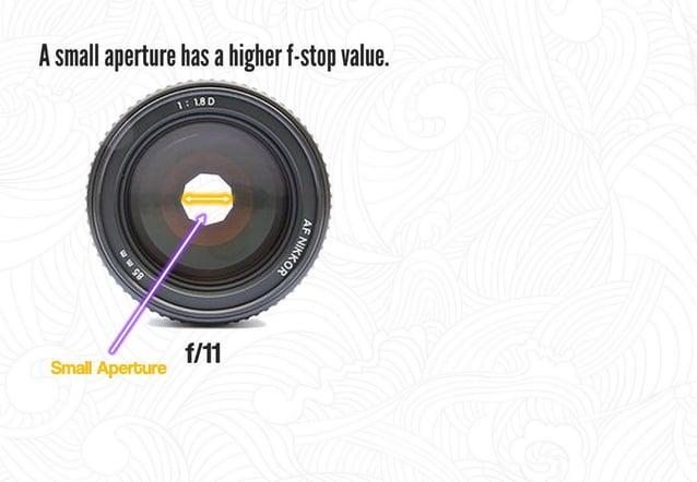 A smaller aperture has a higher f-stop value.   . ._ --. Ȥ. '