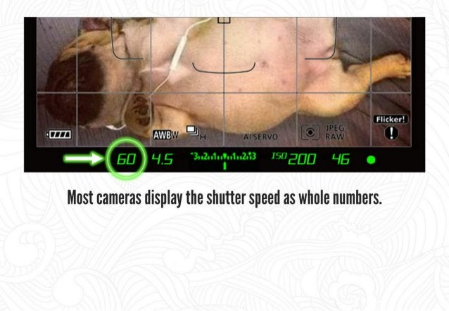 """Most cameras display the shutter speed as whole numbers.  Efl =  1/00""""' of a sec"""