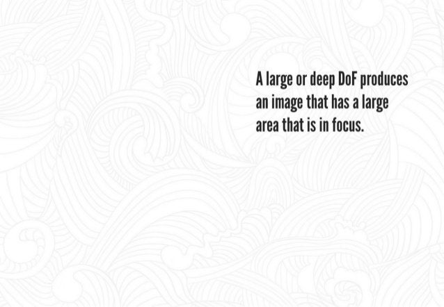 A small or shallow DoF produces an image that has a small area that is in focus.