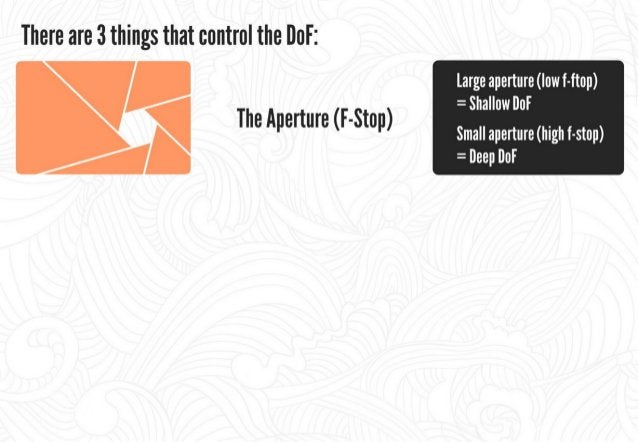 There are 3 things that control the DoF:   large aperture (low f-ftop)     The Aperture (F-Stop)  (high f-stop) =  Deep lI...