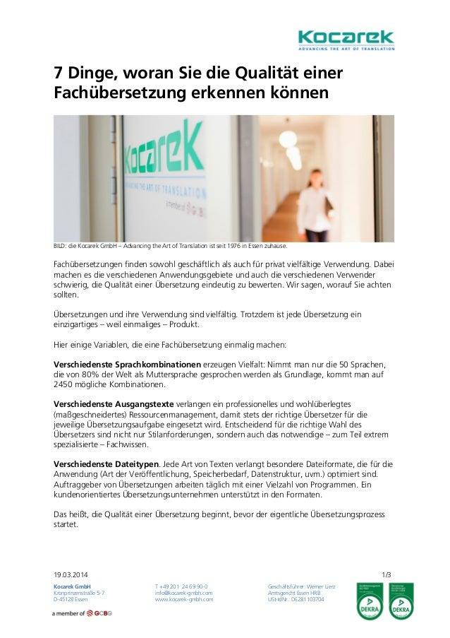 19.03.2014 1/3 Kocarek GmbH T +49 201 24 69 90-0 Geschäftsführer: Werner Lierz Kronprinzenstraße 5-7 info@kocarek-gmbh.com...