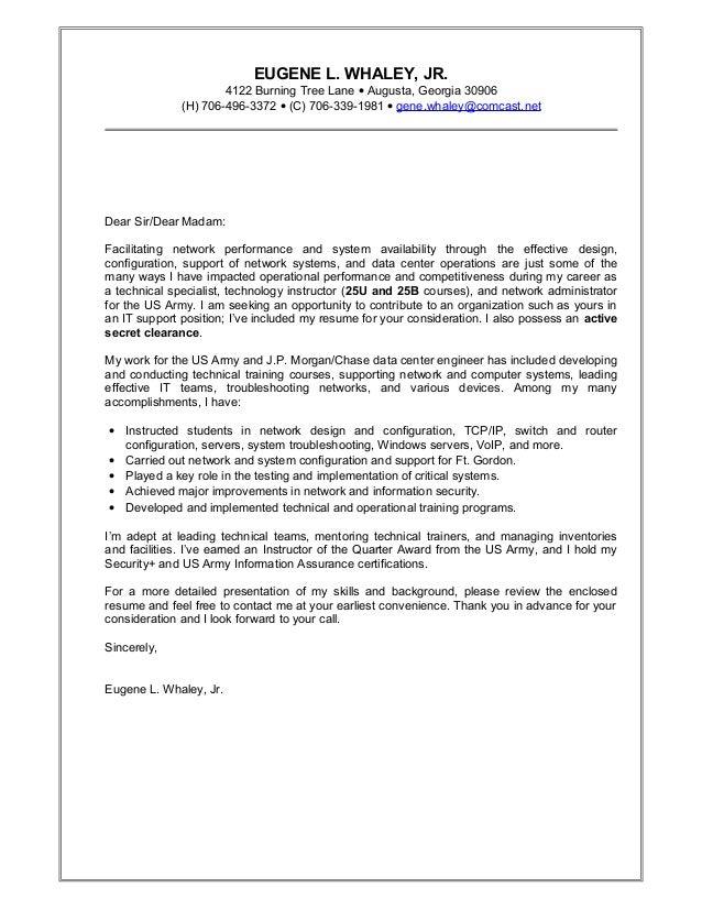 Eugene Whaley\'s cover letter.
