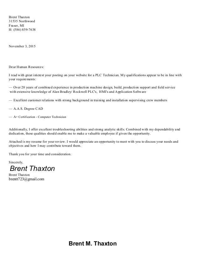 brent thaxton resume plc technician 2015