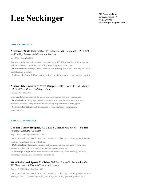 LeeSeckinger-Resume-PTA