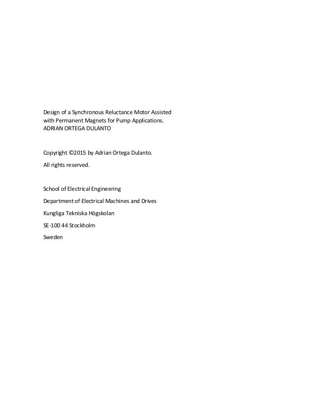 synchronous reluctance motor thesis Ii design of switched reluctance motors and development of a universal controller for switched reluctance and permanent magnet brushless dc motor drives.