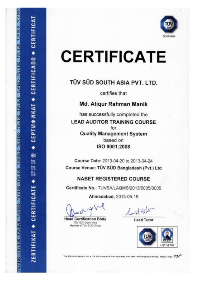 Lead Auditor Certificate