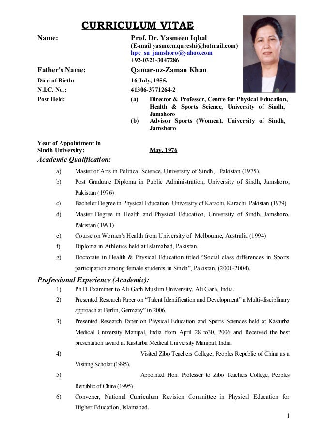 prof-dr-yasmeen-iqbal-cv-1-638 Sample Curriculum Vitae For History Professor on college adjunct, ethnic studies, for radiology tech, world-class college, physical therapy, edwin jones, template law school, lucas ogunlade, political science, laban ayiro, for university,